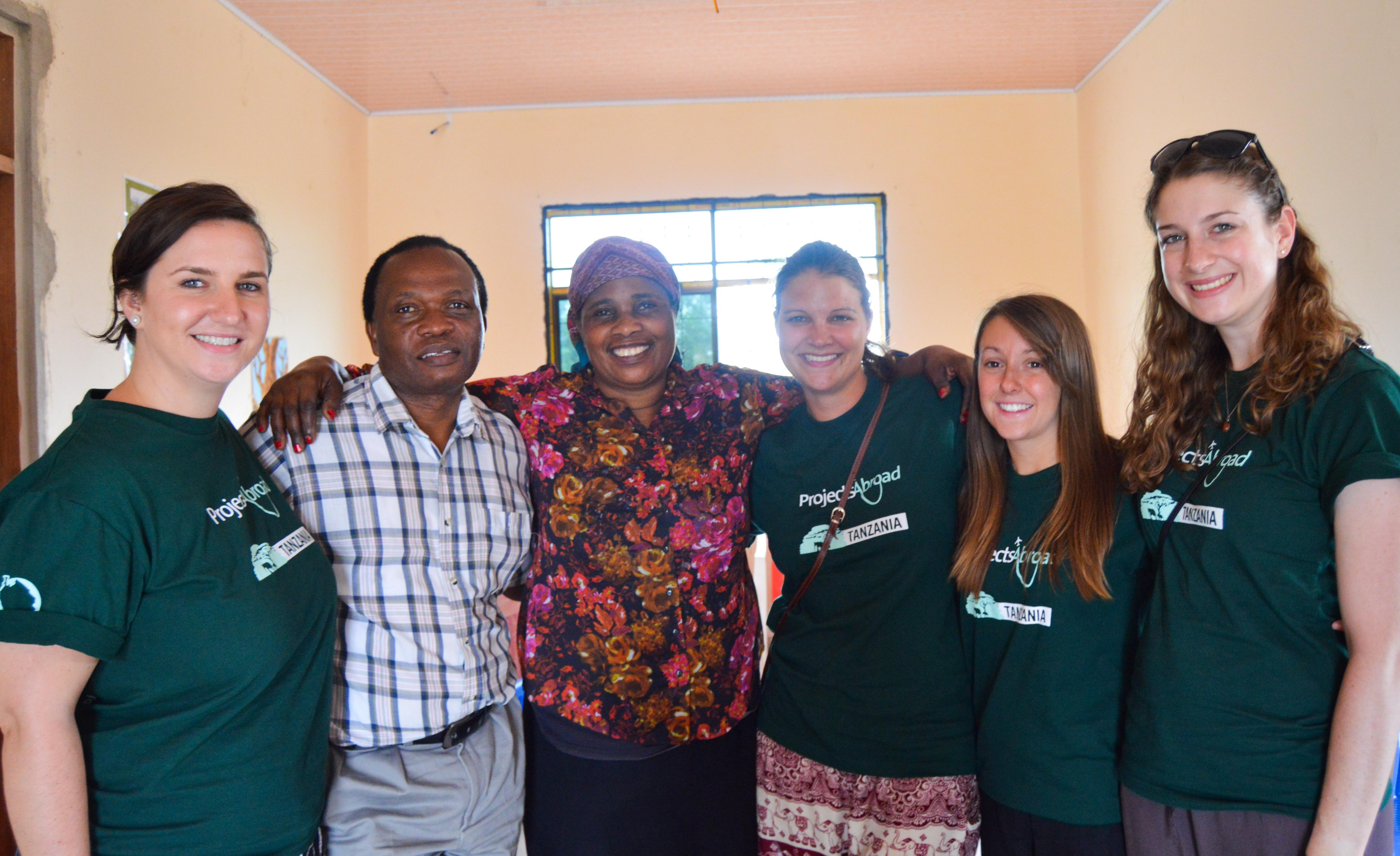 A group of Projects Abroad interns are pictured at a medical outreach during their occupational therapy internship in Tanzania.